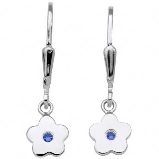 Basic Silber SK05 Kinder Ohrringe Blumen Silber Zirkonia Blau