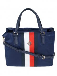 Tommy Hilfiger Damen Handtasche Tasche Poppy Satchel Blau