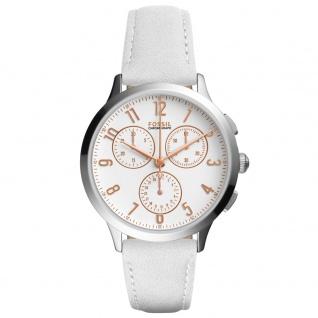 Fossil CH4000 ABILENE Chronograph Uhr Damenuhr Lederarmband Datum Weiß