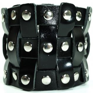 CJBB1927 Herren Armband Leder schwarz 21, 5 cm