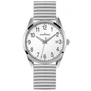 Jacques Lemans 1-1769K Uhr Herrenuhr Edelstahl Datum weiß