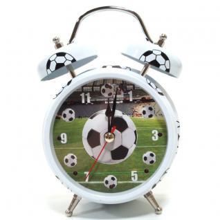 Atlanta 1182-0F Wecker Fußball Analog Alarm weiss