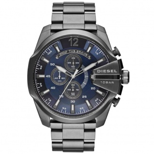 Diesel DZ4329 MEGA CHIEF Chronograph Uhr Herrenuhr Stahl blau grau
