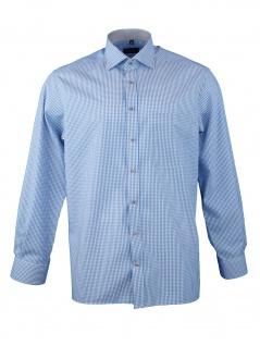 Eterna Herrenhemd Langarm Comfort Fit Blau kariert Gr. XL/44