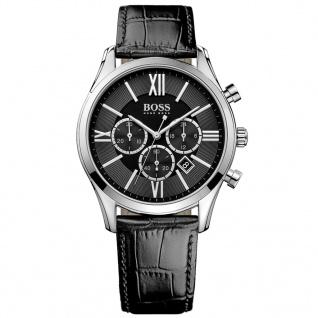 Hugo Boss Ambassador Chronograph Uhr Herrenuhr Lederarmband schwarz