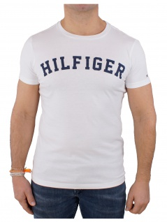 Tommy Hilfiger Herren T-Shirt Kurzarm SS Tee Logo UM0UM00054 Weiß S