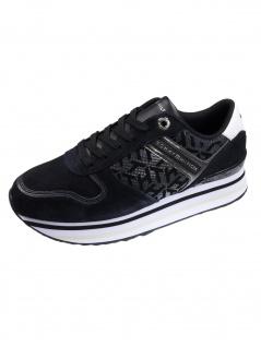 Tommy Hilfiger Damen Schuhe TH Metallic Flatform Sneaker Schwarz