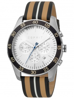 Esprit ES1G204L0015 Jordan Beige Silver Herrenuhr Leder Chrono Datum