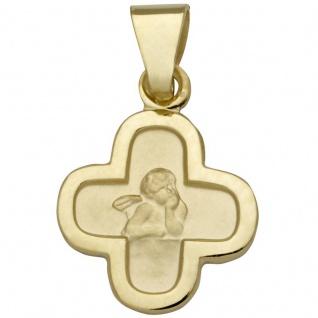 Basic Gold EN13 Kinder Anhänger Kreuz Schutzengel 14 Karat (585) Gold