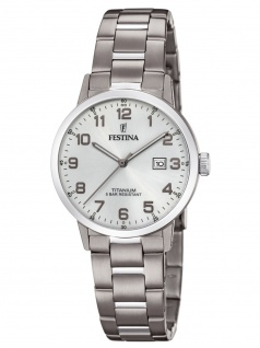 Festina F20436/1 Uhr Damenuhr Titan Datum silber