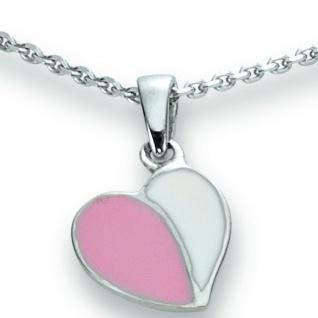 Basic Silber 21.KS101 Mädchen Collier Herz Silber 36 cm rosa weiß