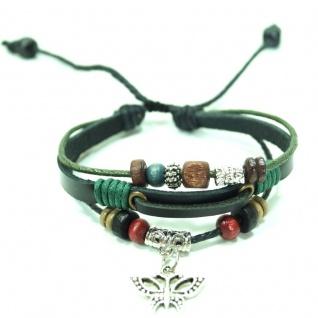 CJBB4433 Damen Armband Schmetterling Leder schwarz