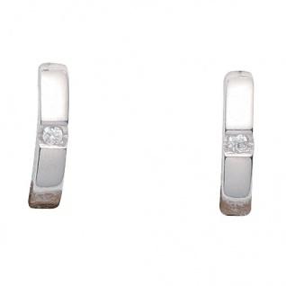 Basic Silber 05.KS101 Mädchen Creolen Silber Zirkonia weiß - Vorschau 1