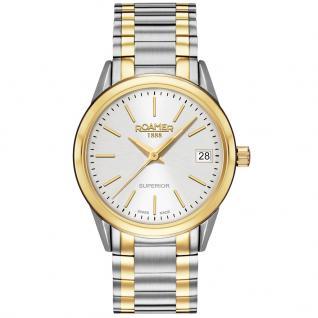 ROAMER Superior Uhr Damenuhr Edelstahl Datum bicolor
