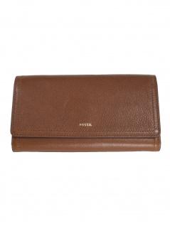 1b5c4cb2985aa Fossil Damen Geldbörse Portemonnaies RFID Logan Flap Leder Braun