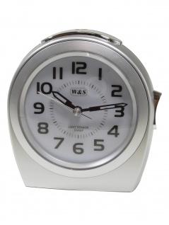 W&S 201812-silber Wecker leise Sekunde Uhr Alarm Weiss