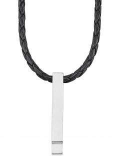 s.Oliver 2027434 Herren Collier Edelstahl Silber schwarz 50 cm