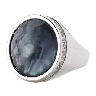Leonardo 016350 Damen Ring Eleganza Edelstahl Silber Weiß 52 (16.6)