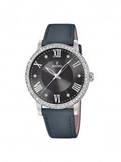 FESTINA F20412/4 Uhr Damenuhr Lederarmband Grau