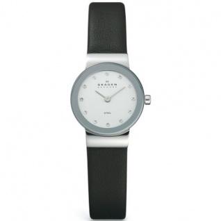 Skagen 358XSSLBC CLASSIC Uhr Damenuhr Lederarmband schwarz Zirkonia