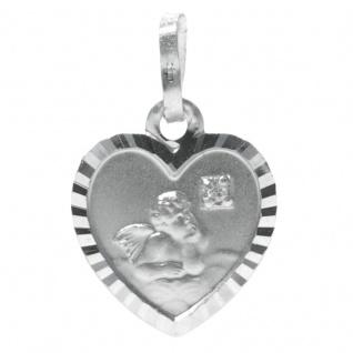 Basic Silber STG08 Kinder Anhänger Schutzengel Herz Silber Zirkonia