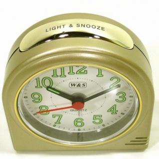 W&S 200602 Wecker Uhr champagner-weiß leise Sekunde Analog Licht Alarm - Vorschau 2