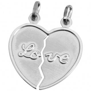 Basic Silber SL12 Anhänger Partneranhänger Herz Silber