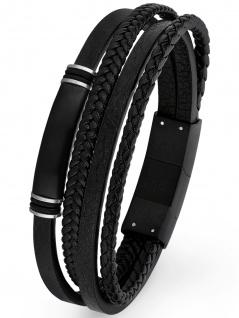 s.Oliver 2026001 Herren Armband Edelstahl Silber schwarz 21, 5 cm