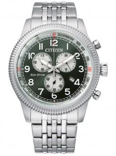 Citizen AT2460-89X Eco Drive Chronograph Uhr Herrenuhr Datum Silber