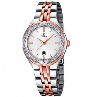 FESTINA F16868/2 Uhr Damenuhr Edelstahl Datum bicolor
