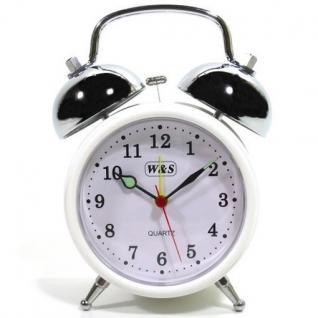 W&S 200200 Wecker Glockenwecker Uhr weiß Analog Alarm