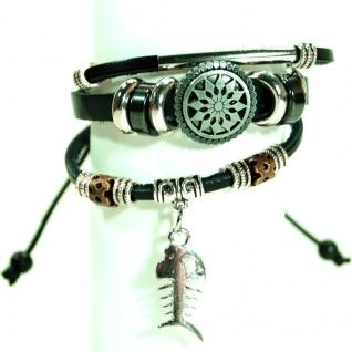 CJBB6603 Damen Armband Fisch Leder schwarz