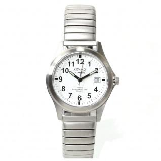 Cosmo 033004RZB-weiß Uhr Herrenuhr Edelstahl Datum weiß