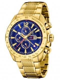 FESTINA F20441/2 Chronograph Uhr Herrenuhr Edelstahl Chrono Datum Gold