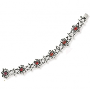 Tom Hill 41.9039 Damen Armband Silber Granat rot 20, 5 cm