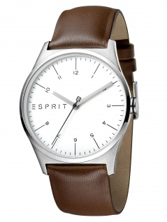 Esprit ES1G034L0015 Essential Silver Brown-G Herrenuhr Lederarmband