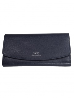 Esprit Damen Geldbörse Portemonnaies Classic flap clutch Leder Blau