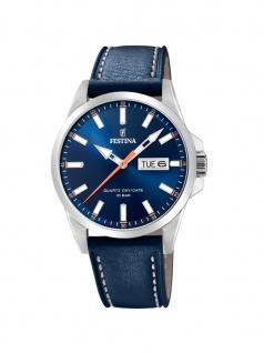 FESTINA F20358/3 Uhr Herrenuhr Lederarmband Datum Blau