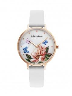 Julie Julsen JJW90RGL-9 Uhr Damenuhr Lederarmband Weiß