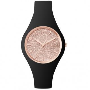 Ice-Watch ICE GLITTER Black Rose Gold Small Damenuhr Silikon schwarz