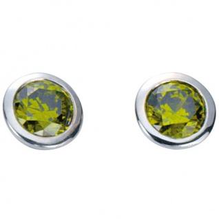 Basic Silber 01.1098G Damen Ohrstecker Silber Zirkonia grün