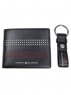 Tommy Hilfiger Geldbörse Business Mini Wallet & Key Leder Schwarz