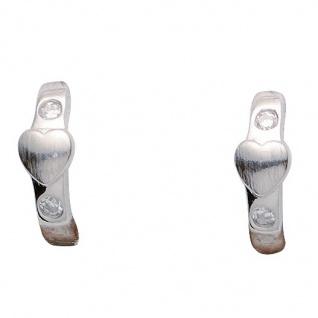 Basic Silber 05.KS103 Mädchen Creolen Herz Silber Zirkonia weiß