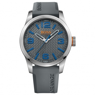 Boss Orange Paris Uhr Herrenuhr Silikon grau