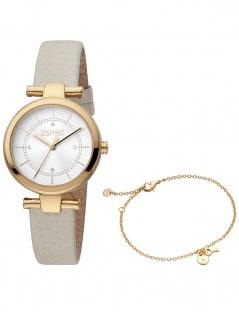 Esprit ES1L281L0035 Laila Beige Gold Set Uhr Damenuhr Leder beige