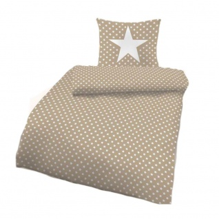 IDO 5922-182 Mako-Satin Bettwäsche 2tlg. Sterne Sand Weiß 135x200 cm - Vorschau 1