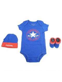Converse Babykleidung Geschenkset 3er Gift Set Blau 0-6 Monate
