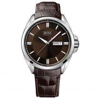 Hugo Boss 1513037 Uhr Herrenuhr Lederarmband Datum braun