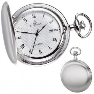 DUGENA 4288041 Taschenuhr Savonette mit Kette Uhr Herrenuhr weiß