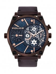 POLICE PL.15381JSBZ/03 VIGOR Uhr Herrenuhr Lederarmband Datum Braun